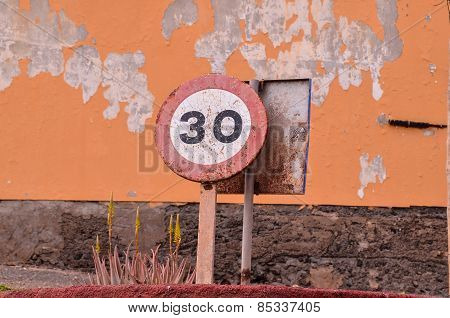 Vintage Old Rusty Road Sign