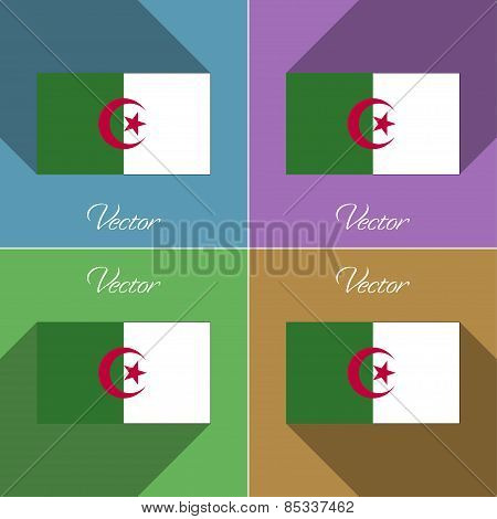 Flags Algeria. Set Of Colors Flat Design And Long Shadows. Vector