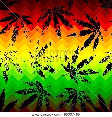 Rastafarian chevron pattern and grunge hemp leaves.