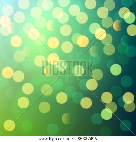 green shiny bokeh lights