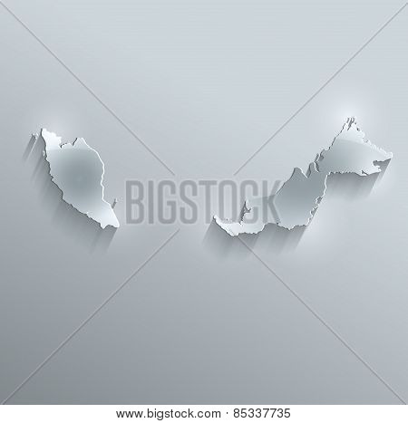 Malaysia map glass card paper 3D raster