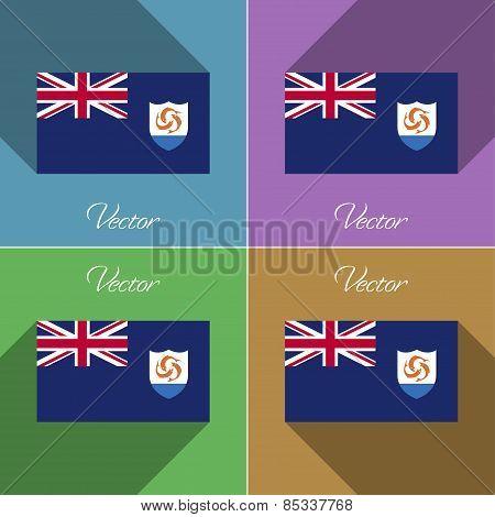 Flags Anguilla. Set Of Colors Flat Design And Long Shadows. Vector