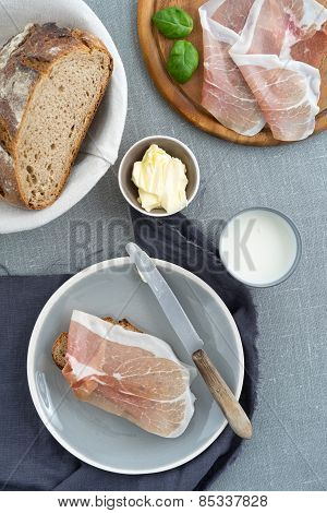 Parma Ham On Rustic Bread