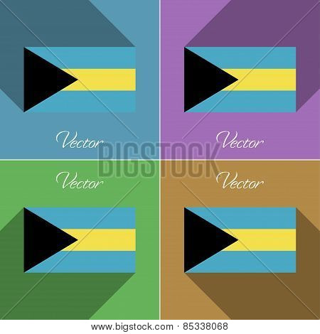 Flags Bahamas. Set Of Colors Flat Design And Long Shadows. Vector