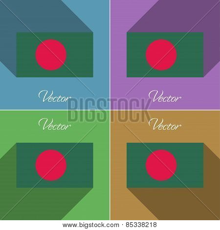 Flags Bangladesh. Set Of Colors Flat Design And Long Shadows. Vector