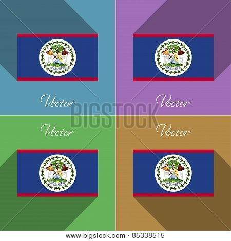 Flags Belize. Set Of Colors Flat Design And Long Shadows. Vector