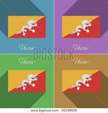 Flags Bhutan. Set Of Colors Flat Design And Long Shadows. Vector
