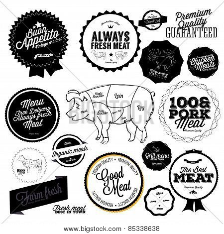 Set of butcher shop labels and badges