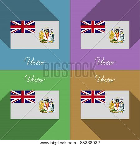 Flags British Antarctic Territory. Set Of Colors Flat Design And Long Shadows. Vector
