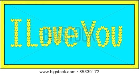Yellow I Love You Hearts on Blue