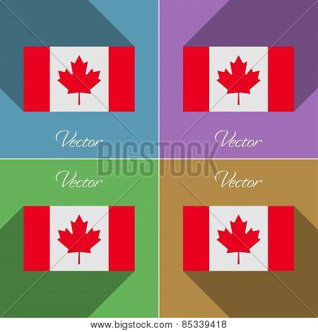 Flags Canada. Set Of Colors Flat Design And Long Shadows. Vector
