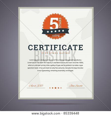 Five stars rating certificate.