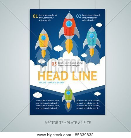 Vector flying rocket brochure flyer design templates
