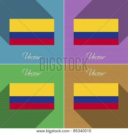 Flags Colombia. Set Of Colors Flat Design And Long Shadows. Vector