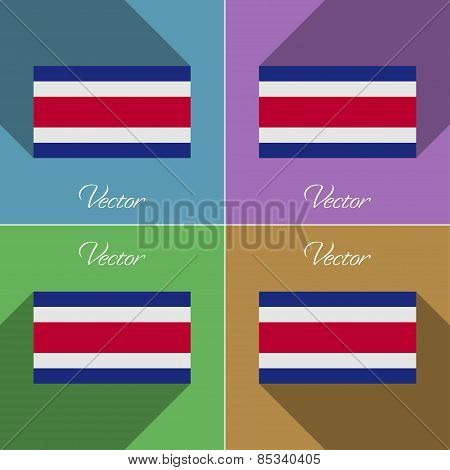 Flags Costa Rica. Set Of Colors Flat Design And Long Shadows. Vector
