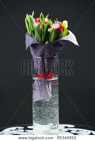 Celebratory Bouquet Of Spring Flowers In A Vase