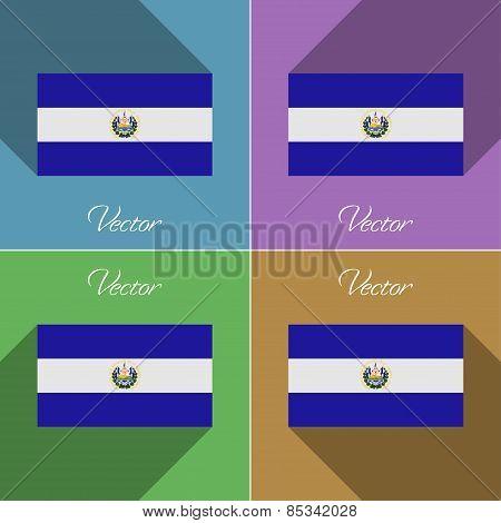Flags El Salvador. Set Of Colors Flat Design And Long Shadows. Vector