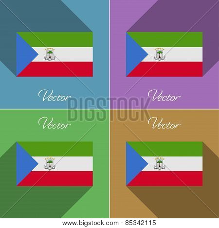 Flags Equatorial Guinea. Set Of Colors Flat Design And Long Shadows. Vector