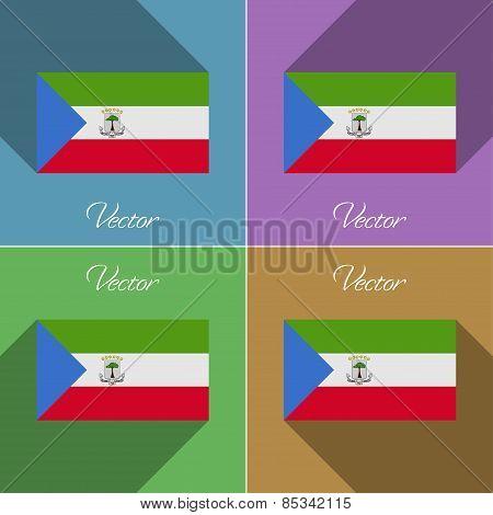 Flags Equatorial Guinea. Set Of Colors Flat Design And Long Shadows. Vector