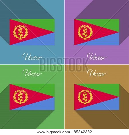 Flags Eritrea. Set Of Colors Flat Design And Long Shadows. Vector
