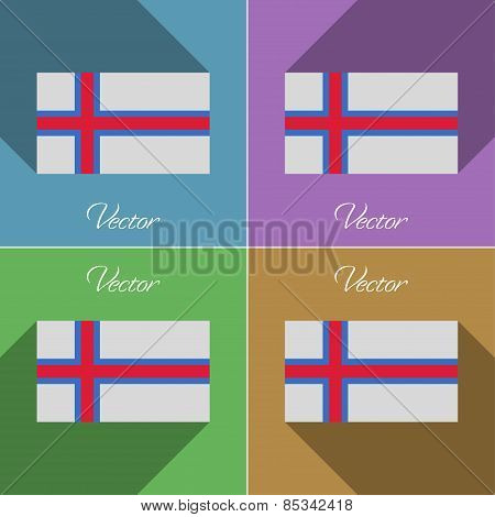 Flags Faroe Islands. Set Of Colors Flat Design And Long Shadows. Vector
