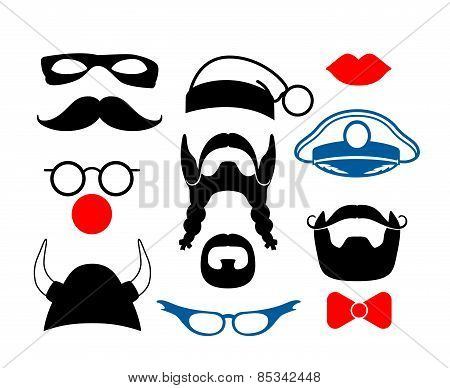 False mustache, funny glasses and other items for party or masquerade