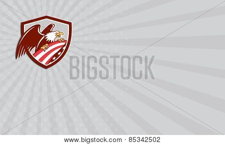 Business Card American Bald Eagle Clutching Usa Flag Shield Retro