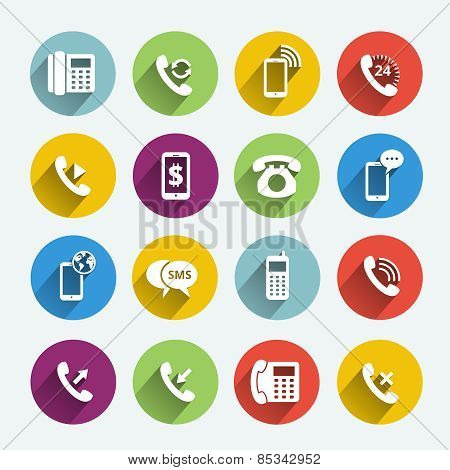Phone handset flat icons