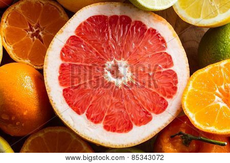 Juicy Half Pink Grapefruit.