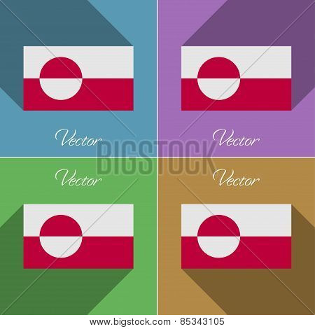 Flags Greenland. Set Of Colors Flat Design And Long Shadows. Vector