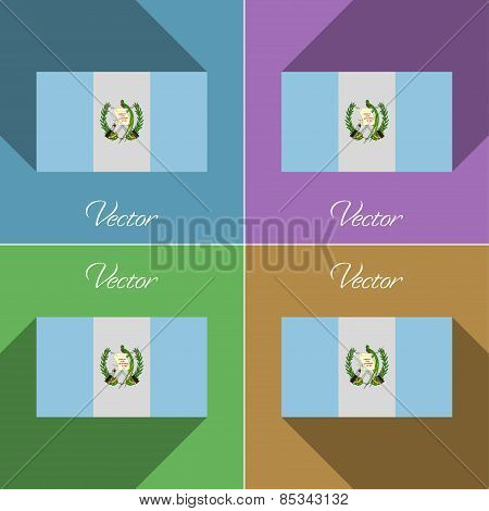 Flags Guatemala. Set Of Colors Flat Design And Long Shadows. Vector