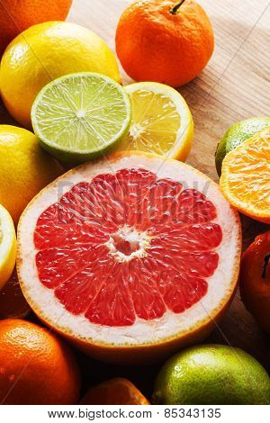 Pink Grapefruit And Other Citrus Fruit