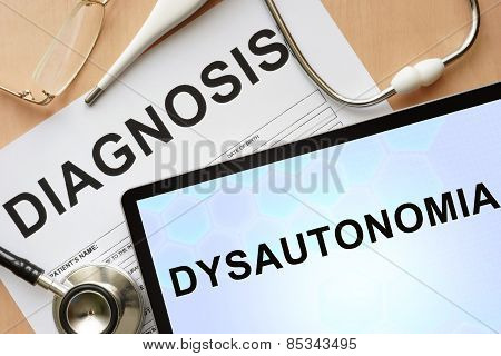 Tablet with diagnosis dysautonomia and stethoscope.