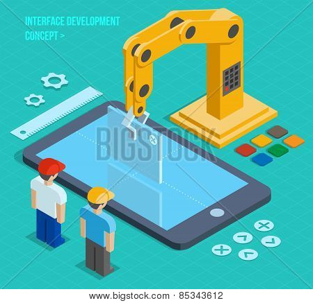 Vector 3d isometric user interface development concept