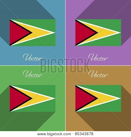 Flags Guyana. Set Of Colors Flat Design And Long Shadows. Vector