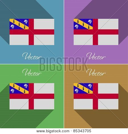 Flags Herm. Set Of Colors Flat Design And Long Shadows. Vector