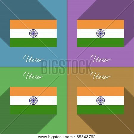 Flags India. Set Of Colors Flat Design And Long Shadows. Vector