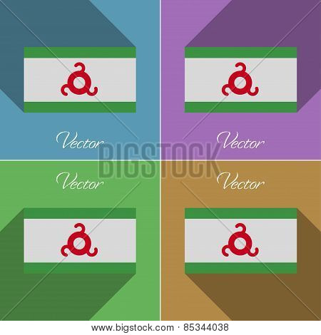 Flags Ingushetia. Set Of Colors Flat Design And Long Shadows. Vector