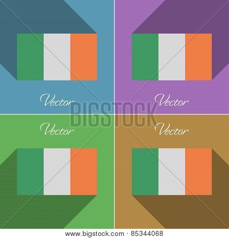 Flags Ireland. Set Of Colors Flat Design And Long Shadows. Vector