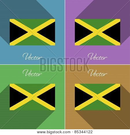 Flags Jamaica. Set Of Colors Flat Design And Long Shadows. Vector