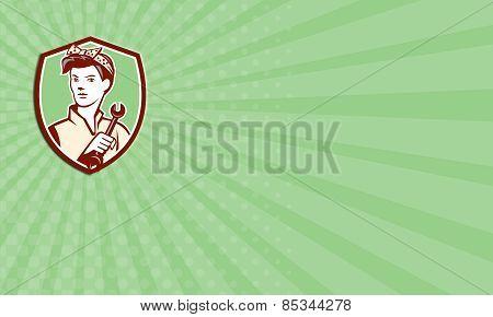 Business Card Female Mechanic Worker Holding Spanner Retro