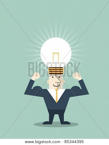Businessman Creative idea.Light Bulb on Human Head Symbol