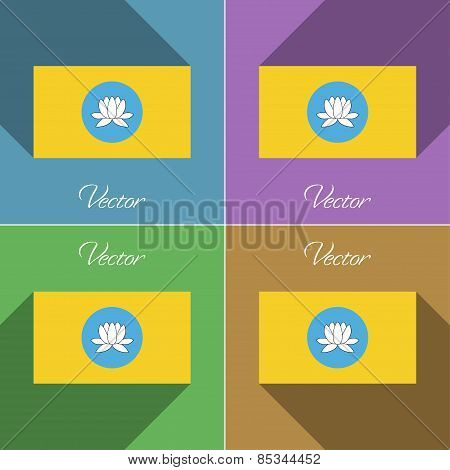 Flags Kalmykia. Set Of Colors Flat Design And Long Shadows. Vector