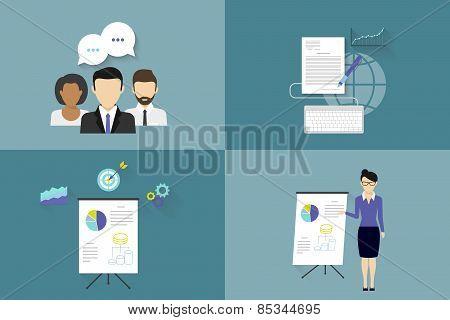 Project team illustrations set