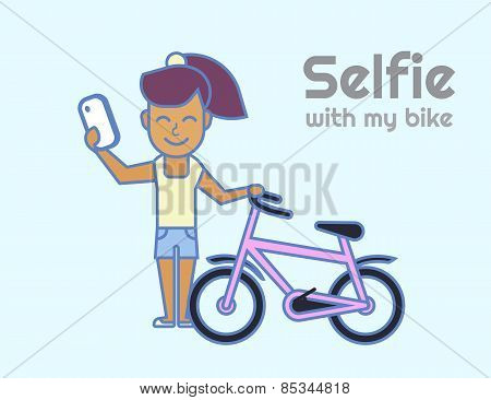Selfie of young girl with bicycle