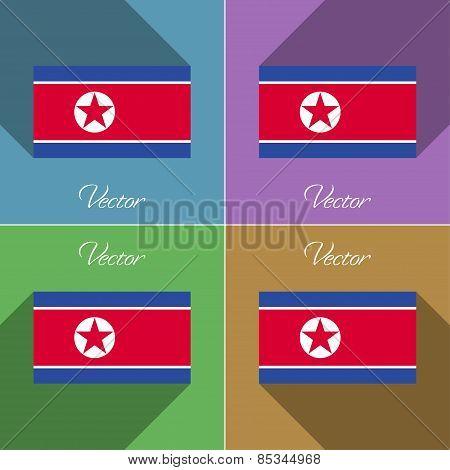 Flags Korea North. Set Of Colors Flat Design And Long Shadows. Vector