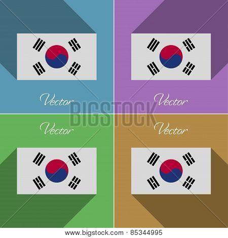 Flags Korea South. Set Of Colors Flat Design And Long Shadows. Vector