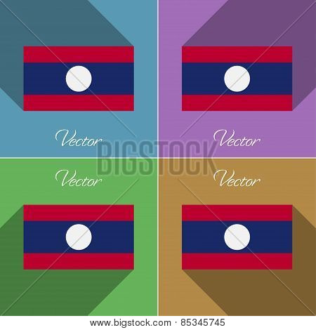 Flags Laos. Set Of Colors Flat Design And Long Shadows. Vector