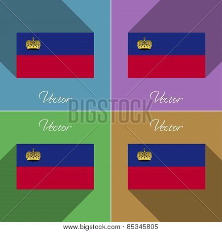 Flags Liechtenstein. Set Of Colors Flat Design And Long Shadows. Vector