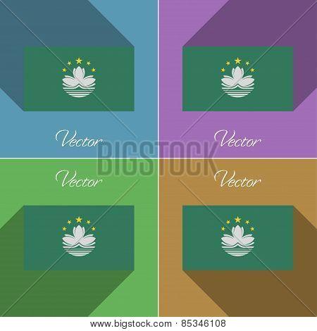 Flags Macau. Set Of Colors Flat Design And Long Shadows. Vector